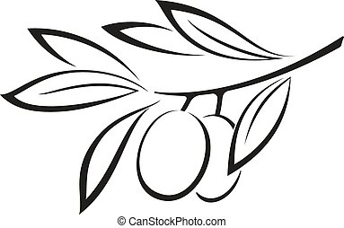 Olive Branch with Berries Black Icon