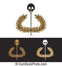 olive branch with skull symbol of greek god hades
