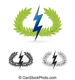 olive branch with thunder symbol of greek god zeus - isolate...