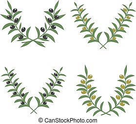 Olive branch wreaths vector isolated on white background