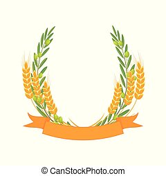 Olive branches and wheat ears