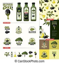 olive cartoon set. black and green olives