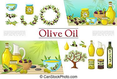 olive, communie, natuurlijke , spotprent, verzameling
