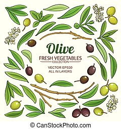 olive, communie, set, vector