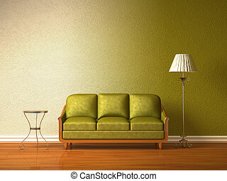 Olive couch with table and standard lamp in olive interior