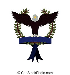 olive crown with ribbon and eagle with open wings