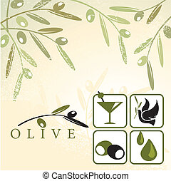 Olive design elements - Vector illustration of olives retro...