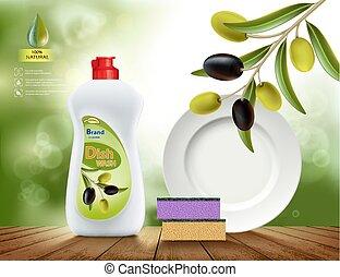 olive, dishwashing, seife, flüssiglkeit
