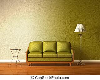 olive, divan, à, table, et, lampe standard, dans, olive,...