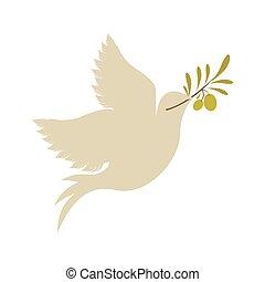 olive, duif, tak, pictogram