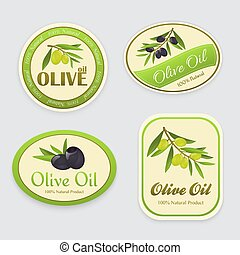 olive, etiketten, olie