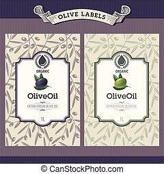 olive, etiketten, set, olie