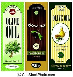 olive, etiketten, set, spotprent, olie