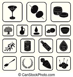 Olive, food black icons in set collection for design. Olive oil, seasoning vector symbol stock web illustration.