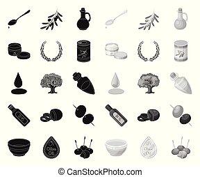 Olive, food black. mono icons in set collection for design. Olive oil, seasoning vector symbol stock web illustration.