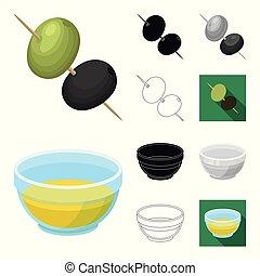 Olive, food cartoon, black, flat, monochrome, outline icons in set collection for design. Olive oil, seasoning vector symbol stock web illustration.