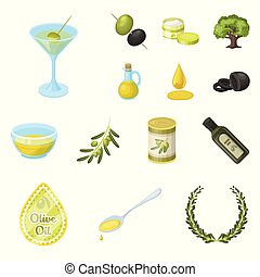 Olive, food cartoon icons in set collection for design. Olive oil, seasoning vector symbol stock web illustration.