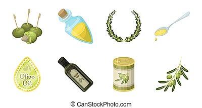 Olive, food icons in set collection for design. Olive oil, seasoning vector symbol stock web illustration.