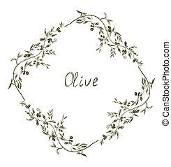 Olive frame hand drawn design illustration