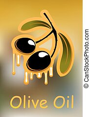 Olive fruits with oil drops