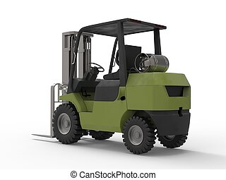 Olive green fork truck - back view