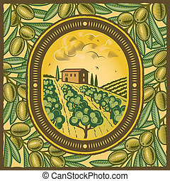 Olive grove - Retro olive grove in woodcut style. Vector ...