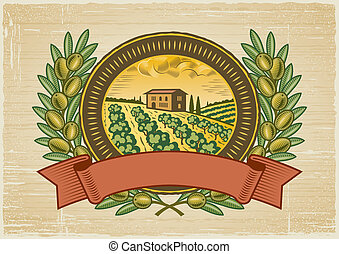 Olive harvest label in woodcut style. Vector illustration.