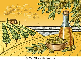 Retro landscape with olive harvest in woodcut style. Fully editable vector illustration with clipping mask.