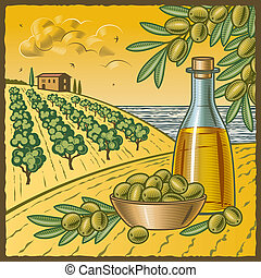 Retro landscape with olive harvest in woodcut style. Vector illustration with clipping mask.