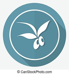 Olive icon on white circle with a long shadow