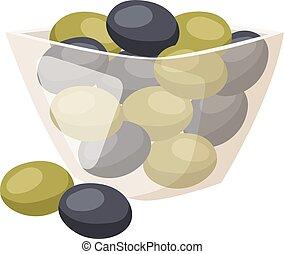 Olive in plate vector illustration.