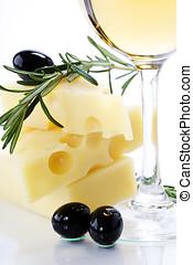 olive, kã¤se, und, weißwein