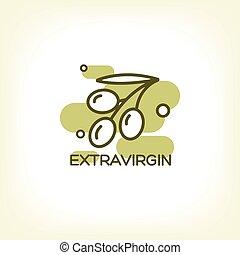 olive, logo, vecteur, branche