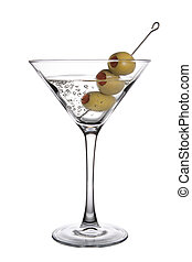 An Olive Martini Cocktail with bubbles on white background