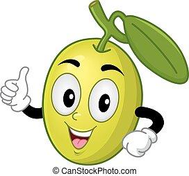 Olive Mascot Thumbs Up