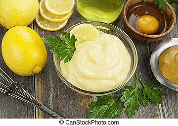 olive, mayonnaise, oel, zitrone