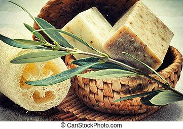 olive, naturel, savon