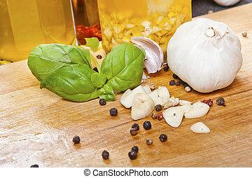 Olive, oel, knoblauch, Pfefferkörner
