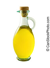 A bottle of olive oil on white background