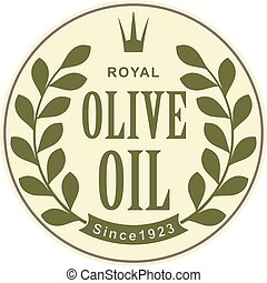 Olive oil abstract label with branch and crown for your design.