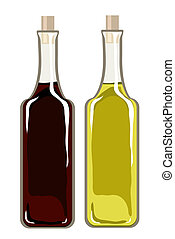 Olive oil and balsamic vinegar - A vector illustration of...