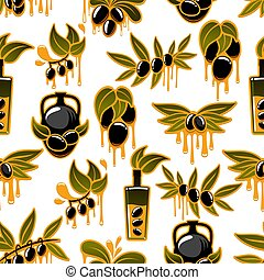 Olive oil and fruit branch seamless pattern