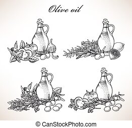 Olive oil and herbs - Illustration of olive oil and various ...