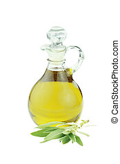 Olive oil and a tied bundle of sage isolated on a white background. Clipping path included.
