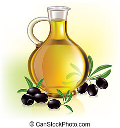 Olive oil and olives. Contains transparent objects. EPS10