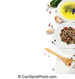 Olive oil and spices - Olive oil, pepper, salt and fresh...
