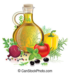 Olive oil and vegetables. Contains transparent objects....