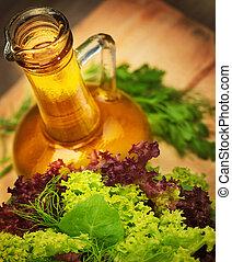 Olive oil and vegetarian salad