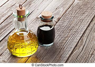 Olive oil and vinegar bottles