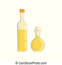 Olive oil and vinegar bottles vector Illustration isolated...
